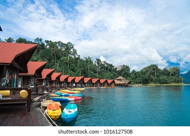 RATCHAPRAPA, SURATTHANI - November 11 2017: Beautiful view of Pair500rai floating resort in Ratchaprapa dam or Cheow lan lake, located in Khao Sok National Park.