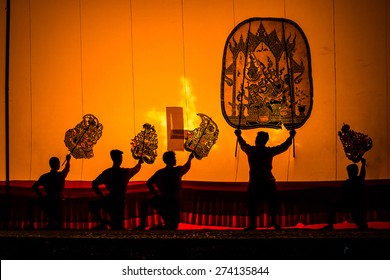 RATCHBURI, THAILAND - APRIL 14: Large Shadow Play is performed at Wat Khanon on April 14, 2015. Large Shadow Play or Nang Yai is a performing art which Wat Khanon tries to preserve as a Thai heritage