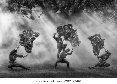 RATCHBURI, THAILAND - MAY 28 : Large Shadow Play is performed at Wat Khanon on May 28, 2016. Large Shadow Play or Nang Yai is a performing art which Wat Khanon tries to preserve as a Thai heritage