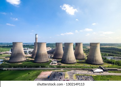 Ratcliffe-on-Soar,  Nottinghamshire/England - May 28th 2018: Ratcliffe-on-Soar power station and east midlands parkway
