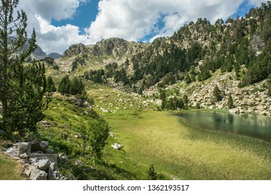 Ratera pond between Sant Maurici and Amitges lakes, in Aigüestortes National Park, Lleida, Pyrenees, Catalonia