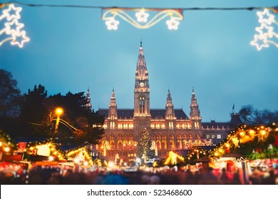 Rathaus (city hall) and christmas market in Vienna, Austria - tilt shift