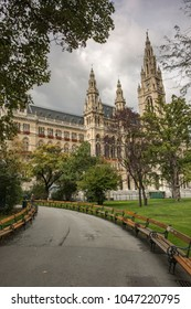 Rathaus, the city hall of Vienna, Austria. Taken on an overcast September morning