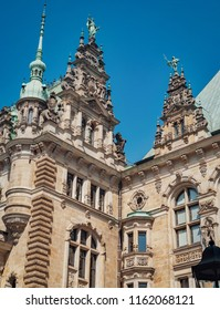 Rathaus on the blue sky background. Rathaus is the famous Hamburg City Hall, Germany.