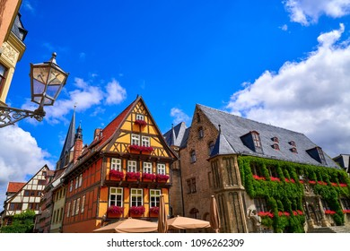 Rathaus Quedlinburg facade in Harz of Germany