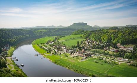 Rathen city near Bastion bridge, Saxon Switzerland, Germany
