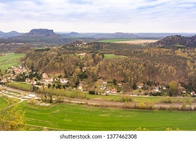 Rathen - a German village in Saxon Switzerland, Elbe Sandstone Mountains. Top view from the Bastei. Nationalpark Sachsische Schweiz, Germany, Europe