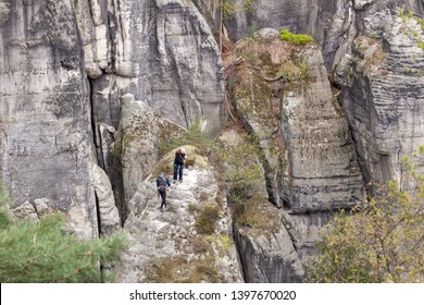 RATHEN, GERMANY - APRIL, 2019: Rock climbers training on the rocks in Saxon Switzerland, Elbe Sandstone Mountains. Top view from the Bastei. Nationalpark Sachsische Schweiz, Germany, Europe