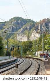 RATHEN, GERMANY – OCTOBER 04, 2018: The station of Rathen in the Elbe Sandstone Mountains. Rathen is one of the most popular destinations in Germany for hikers and mountain climbers
