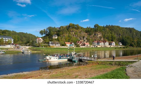 RATHEN, GERMANY – OCTOBER 04, 2018: Ferry Traffic in the resort Rathen in the Elbe Sandstone Mountains in the Saxon Switzerland