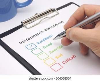 Rating excellent! in an performance assessment
