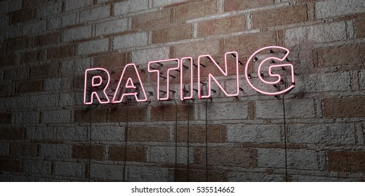 RATING - Glowing Neon Sign on stonework wall - 3D rendered royalty free stock illustration.  Can be used for online banner ads and direct mailers.