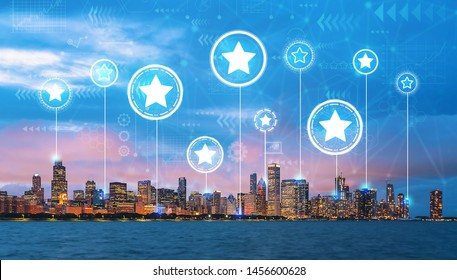 Rating Stars with downtown Chicago cityscape skyline with Lake Michigan