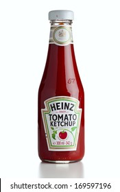 Ratingen, Germany - July13, 2011: A bottle of Heinz Ketchup isolated on white background.