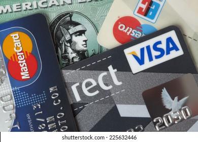 Ratingen, Germany - June 21, 2011: Closeup studio shot of credit and debit cards.