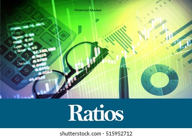Ratios - Abstract digital information to represent Business&Financial as concept. The word Ratios is a part of stock market vocabulary in stock photo