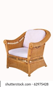Rattan arm chair isolate on white background