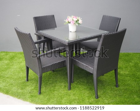 Chaise Lounge Rattan Sintetico.Rattan Artificial Table Chair Stock Photo Edit Now 1188522919