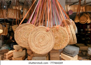 Rattan or bamboo handicraft hand made from natural straw traditional basket container from Bali, Indonesia.