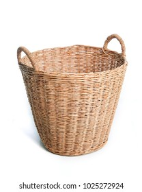 Rattan basket or Wicker basket for blankets , towels and laundry isolated on white background