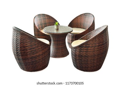 Rattan chair and table set isolated on white background with clipping path. Contemporary and modern design furniture