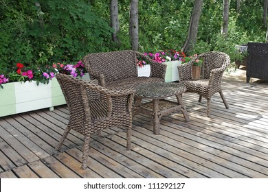Rattan chairs and table  in empty cafe