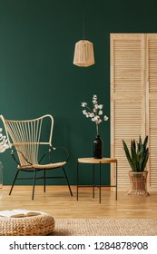 Rattan chandelier above wicker chair next to wooden table with black glass vase with cotton flower, copy space on the empty green wall