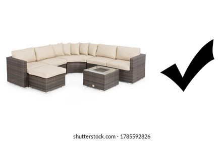 Rattan Corner Sofa Set Isolated on White Background. Outdoor Rattan Furniture. Outdoor Weave Sofa with Inset Ice Bucket. Patio Wicker Dining Sofa with Beige Fabric Cushion Seat