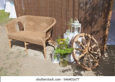 Rattan furniture for relaxing in the Park