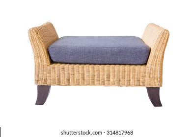 Rattan furniture sofa  isolated on white.