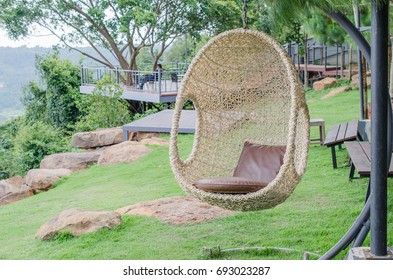 rattan hanging  chair in the garden.for interior.