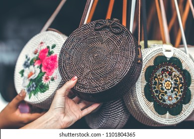 Rattan round bags at a street shop. Bali, Indonesia.