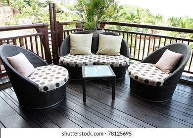 Rattan sofa.