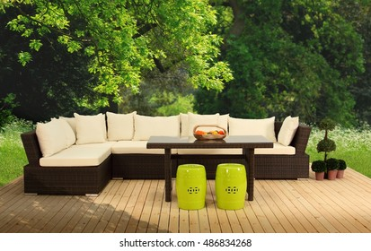 Rattan Sofa Group at the Garden