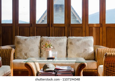 Rattan Sofa with light in the morning