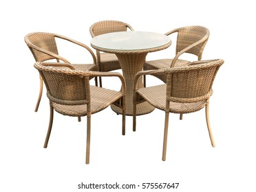 Rattan table and chair isolated on white