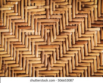 Rattan texture.Rattan woven pattern of an old stool.Cane furniture background.