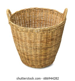 Rattan wicker basket for cloth isolated on white background with clipping path