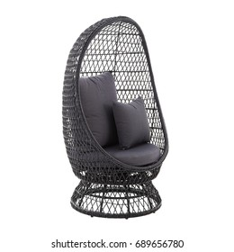 Rattan Wicker Standing Egg Chair Isolated on White Background. Rattan Garden Furniture. Wicker Patio and Outdoor Furniture. Exterior Furniture. Beach Chair with Arm Handles and Soft Cushions