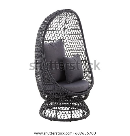 Rattan Wicker Standing Egg Chair Isolated on White Background. Rattan Garden  Furniture. Wicker Patio - Rattan Wicker Standing Egg Chair Isolated Stock Photo (Edit Now