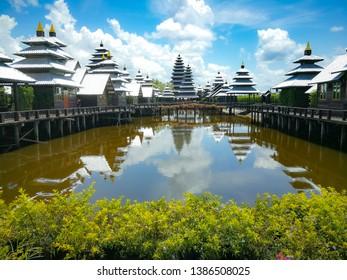 The Rattana  Buri  homestay modern and resort  with reflection in water view beautiful landmark chanthaburi, Thailand