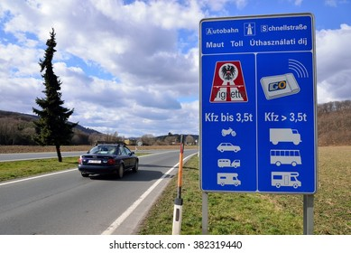 """Rattersdorf  / Austria - February 24,2016: Sign labeled """"border crossing point"""" of Austrian republic at the Austrian border"""