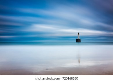 Rattray Head Lighthouse, Aberdeenshire during a Scottish winter.