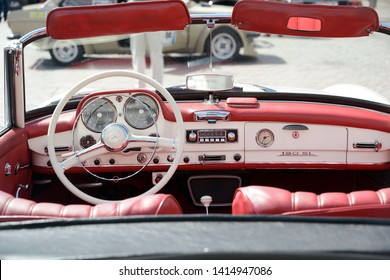RATZEBURG, GERMANY - JUNE 2, 2019: mercedes 190 sl, cockpit interior of the two-door luxury roadster cabriolet, a classic automobile at the oldtimer meeting in Ratzeburg, selected focus
