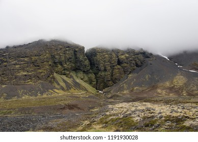 Raudfeldsgja Gorge on a foggy day, Snaefellsnes Peninsula, Iceland