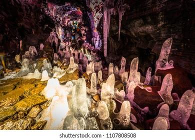Raufarholshellir - May 04, 2018: Ice crystals inside the Raufarholshellir lava tunnels, Iceland