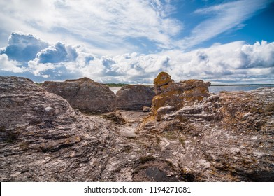 Rauk limestone formations in Fårö Gotland with dramatic sky
