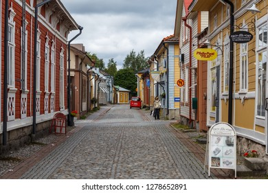 RAUMA / FINLAND - AUGUST 2015: Street in the historic centre of Rauma town, UNESCO heritage, Finland