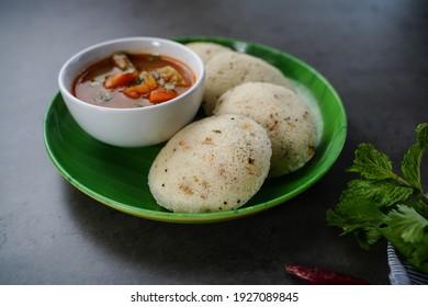 Rava Idli with sambar and chuney - South Indian vegetarian breakkfast