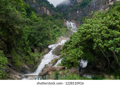 Ravana ella waterfall in Sri Lanka. Beautiful landscape with waterfall.